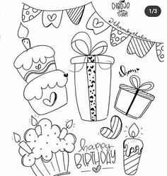Doodle Coloring, Notes Design, School Notes, Doodle Drawings, Be My Valentine, Happy Birthday, Bullet Journal, Clip Art, Stamp