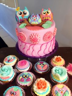 Owl themed baby shower cake and cupcakes.