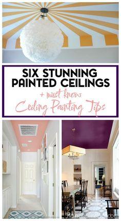 Beautiful painted ceiling designs - single color and patterns. • Painted Ceiling Designs • Tips for Painting Ceilings