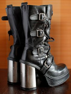 The most beautiful New Rock platform boots,real metal heels and buckles size: 39 EU 8 1/2 US WOMEN  high quality thick lined leather