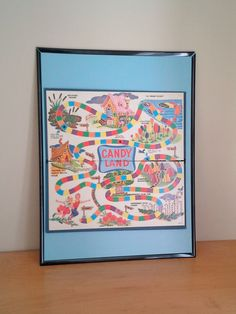 Vintage Framed Board Game - Candy Land Game by theindustrycottage on Etsy