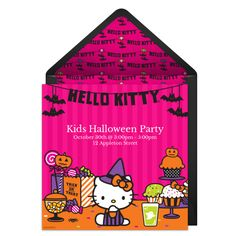 Customizable, free Halloween Treats online invitations. Easy to personalize and send for a Hello Kitty Halloween party. #punchbowl