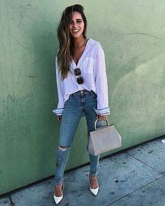 10 combinações básicas e estilosas por Nichole Ciotti - Guita Moda Stylish Work Outfits, Cool Outfits, Casual Outfits, New Fashion Trends, Daily Fashion, Fashion Wear, Fashion Outfits, Moda Fashion, Look Jean