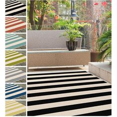 Add a touch of drama to your home with this bold cabana stripe area rug. Made from weather-resistant polypropylene fibers, this rug will remain looking great for years to come.