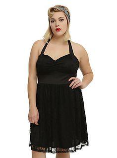 Black Lace Halter Dress Plus Size, BLACK