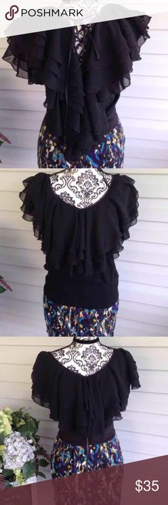 Topin TONS Of Ruffles Lace Up Blouse Most beautiful blouse ever!! Lace up back. Tons of chiffon Ruffles. Has stretch. Small. Topin brand. No flaws. Free gift. Tops Blouses