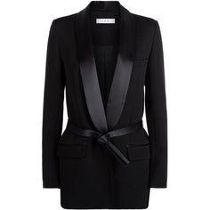 IRO Shera Tie Waist Jacket (9.298.255 IDR) ❤ liked on Polyvore featuring outerwear, jackets, tailored blazer, satin blazer, dinner jacket, satin blazer jacket and tuxedo jacket