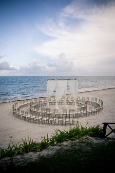 A unique way to set up your beach ceremony. Everyone has a great view! #NowSapphire