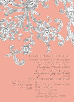 Invitation designed by www.codeartwebstudio.com #weddinginvitation #wedding #invitation #lace #peach #silver