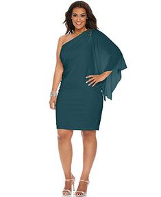 3ffa0f0cacd7 R Richards Plus Size Dress, Three Quarter Flutter Sleeve One Shoulder  Beaded Cocktail Dress -