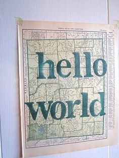 Hello World Baby Shower Gift Vintage Map Art State by OpusandVerse