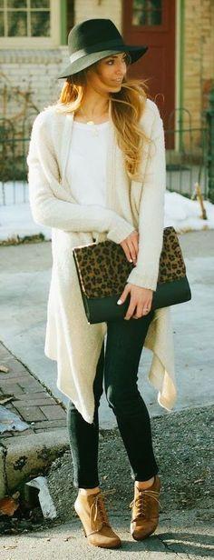 #winter #fashion / oversized knit cardigan