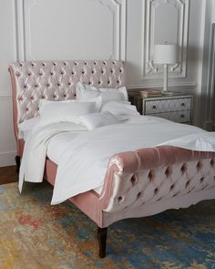 Duncan Tufted California King Bed, Blush - Haute House