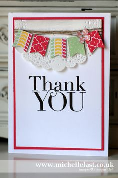 Thank you card using the Stampin Up Banner Punch