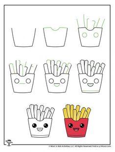 Cute Drawings For Kids, Easy Doodles Drawings, Drawing Lessons For Kids, Art Drawings Sketches Simple, Simple Doodles, Kawaii Drawings, Sketching For Kids, Ideas For Drawing, Cute Doodle Art