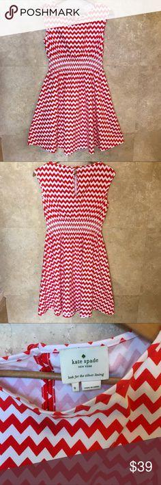 Kate Spade Leora Chevron Dress 95%.Cotton 5% elastane Length is 39 Chest is 36 kate spade Dresses Midi