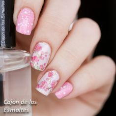 Pink cherry blossom flowers Nail art -water decals