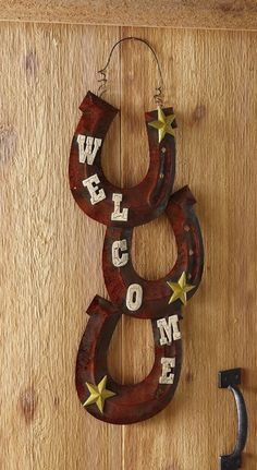 Rustic Western Horseshoe Cowboy Horse Shoe Star Welcome Sign Door Wall Decor picclick.com