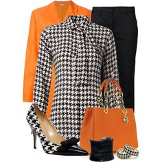 """""""Orange you in Love with Houndstooth?"""" by justbeccuz on Polyvore"""