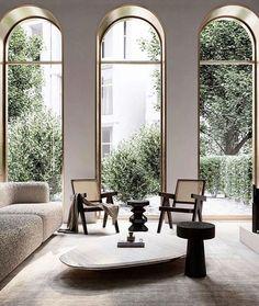 Interior Design Living Room, Living Room Designs, Interior Decorating, Interior Exterior, Interior Architecture, Villa Design, House Design, High Ceiling Living Room, Arched Windows