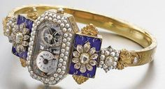 CIRCA 1830 LADY'S GOLD, ENAMEL, PEARL, AND DIAMOND-SET WATCH with exposed balance and later bangle.  via Sotheby's