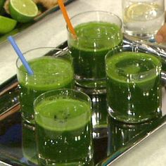 Daphne Oz's Detox Green Juice Recipe - 2 Cups Spinach, 1 Heads Celery, 2 Heads Washed Kale, 2 Cucumbers, 1 Bunch Mint, 1 Bunch Parsley, 3 Green Apples (or 1 whole pineapple), 1 Inch Peeled Ginger, 2 Limes (Juiced) *** Combine ingredients in blender or juicer and blend until smooth.