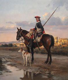 Ejército Real de Aragón. Lancero del Primer Regimiento de Valencia del Ejército Carlista, en San Mateo (Castellón). 1838, obra de Augusto Ferrer-Dalmau