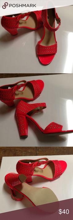 J Crew Stack Heel Shoes. New Brand new. Orange laser cut leather heels J. Crew Shoes