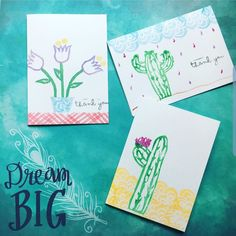 Check out how to make your own hand carved stamps and then design your cards 🌿💕