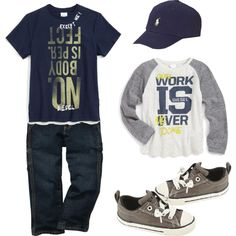Hard Worker Toddler Boy Fashion… Those jeans could be jean shorts, and the long sleeve top made sleeves. Awesome colors for the summer. Toddler Boy Fashion, Little Boy Fashion, Toddler Boy Outfits, Toddler Boys, Kids Fashion, Fashion Wear, Dress Fashion, Fall Fashion, Cute Boy Outfits