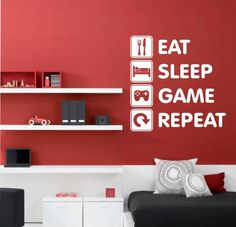 Room painting designs walls for boys eat sleep game repeat vinyl wall lettering video gamer decal . Small Room Bedroom, Trendy Bedroom, Bedroom Ideas, Small Rooms, King Bedroom, Bed Room, Bedroom Designs, Teen Boy Rooms, Teenage Bedrooms