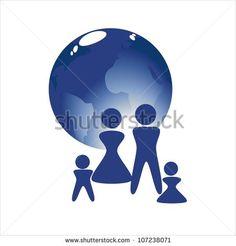 Earth globe with family - stock photo