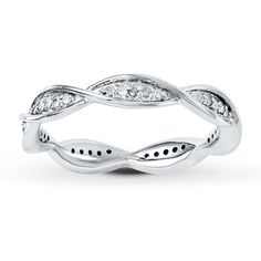 Stackable Ring 1/6 ct tw Diamonds Sterling Silver, looks like DNA - $180