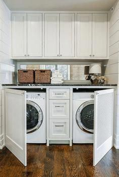 Mudroom Laundry Room, Modern Laundry Rooms, Laundry Room Remodel, Laundry Decor, Laundry Room Design, Laundry In Bathroom, Laundry Closet Makeover, Laundry Storage, Laundry In Closet
