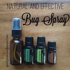 Used this bug spray while camping last weekend. It worked awesome! The mosquitoes were thick, and I got maybe one bite.  That's huge for me, because mosquitoes think I'm super tasty  Directions:  Combine 20 drops each of TerraShield and Lemongrass, and 3 drops of Arborvitae in a 2 oz spray bottle. Add a splash of rubbing alchohol (to disperse oils into water), and top with water. Shake, spray and enjoy!  SO much better the other toxic sprays. http://www.mydoterra.com/emilykoehler/#/