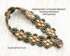 Bead Pack Tuscany Solitaire Bracelet By Deb Roberti, Tutorial Sold Separately Beaded Braclets, Beaded Bracelet Patterns, Seed Bead Bracelets, Seed Bead Jewelry, Beading Patterns, Seed Beads, Peyote Bracelet, Jewelry Case, Beading Tutorials