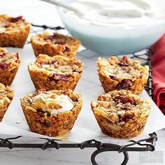 Granola Cups Spin your usual yogurt-and-granola breakfast on its head with our delicious and creative brunch recipe. A granola shell made from cranberries, nuts, and coconut holds just the perfect amount of yogurt in these breakfast bites. Muffin Tin Breakfast, Breakfast Bites, Savory Breakfast, Breakfast Recipes, Muffin Tins, Breakfast Sandwiches, Breakfast Casserole, Best Brunch Recipes, Healthy Dessert Recipes