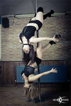 Pole dancing doubles cross knee release.