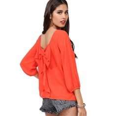 available on our store http://www.hdzstore.com/products/blusa-women-chiffon-blouses-backless-cut-bow-candy-color-plus-size-6xl-free-shipping?utm_campaign=social_autopilot&utm_source=pin&utm_medium=pin  #shopping #shop #buy #shops