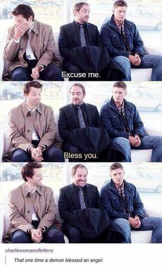 Image result for supernatural bloopers bless you>> I love how done Jensen is staring at the camera