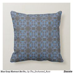 Blue Gray Abstract Art Pattern Pillow.  #bluehome #decoratingwithblue #bluedecor #throwpillows #homedecor #pillows #throwpillowsforbed #eleganthomes #pillowpattern