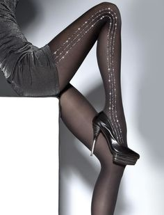 Silver sparkling lines tights