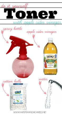 DIY: Apple Cider Vinegar As A Toner; dermatologist recommended to keep skin soft and fight off blackheads, acne, and redness.