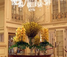 The monochromatic look of bright yellow blooms emulated warmth in the lobby at The Plaza Hotel this week. #theplazahotel #flowers