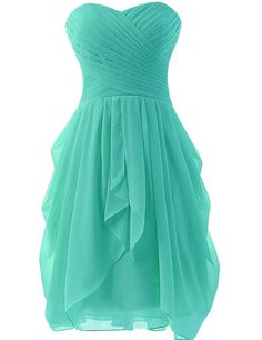 Hot Sale Womens Chiffon Ruched Bridesmaid Dress Short Prom Dresses