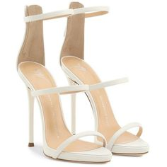 Giuseppe Zanotti Harmony (2.750 BRL) ❤ liked on Polyvore featuring shoes, sandals, platform shoes, white shoes, white flats, flat platform shoes and white sandals