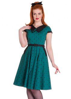 Hell Bunny Green Polka Dot Brooke Dress