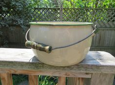 Vintage Enamel Pot with wood Handle Cream and green 1930 or so 11 by 6 inches deep