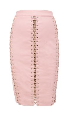 Clothing : Skirts : 'Abelia' Pale Pink Vegan Leather Skirt with Braid Detail