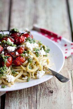 pasta with basil pesto, cherry tomatoes & ricotta